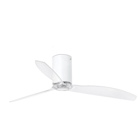 MINI TUBE FAN Matt White/Transparent Ceiling Fan With DC Motor - 32039UL
